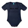 Spanish Pregnancy Announcement Organic Long Sleeve Baby Bodysuit - dark navy