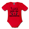 Please Pass Me Too Grandma Organic Short Sleeve Baby Bodysuit - red