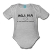 Spanish Pregnancy Announcement Organic Long Sleeve Baby Bodysuit - heather gray