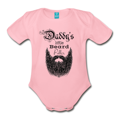 Daddy's Little Beard Puller Organic Short Sleeve Baby Bodysuit - light pink