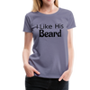 Women's Premium Couples Shirts T-Shirt Script, I Like His Beard Shirt, I Like Her Butt Shirt Script, His & Hers, Matching Shirts, Wedding Gift, Anniversary - washed violet