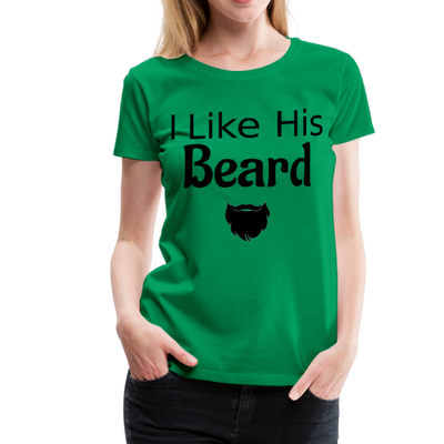 Women's Premium Couples I Like His Beard Shirt with Image - kelly green