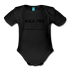 Spanish Pregnancy Announcement Organic Long Sleeve Baby Bodysuit - black