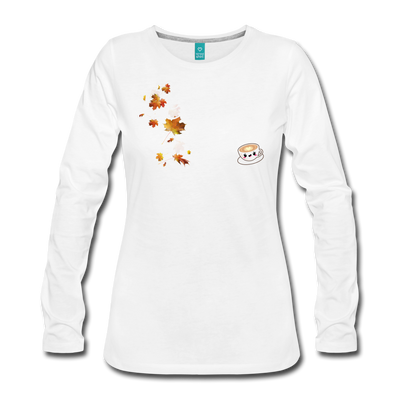 Leaves & Lattes w/ Images Women's Premium Long Sleeve T-Shirt - white