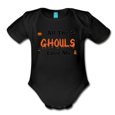 Organic Short Sleeve Bloody Halloween Onesie®, All the Ghouls love me, Baby Onesie® Baby boy, Toddler shirt, Funny Onesie®, Newborn Onesie®, 1st Halloween, Hallows Eve - black