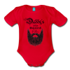 Daddy's Little Beard Puller Organic Short Sleeve Baby Bodysuit - red