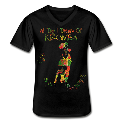 All Day I Dream Of Kizomba Africa Colors Men's V-Neck T-Shirt - black