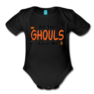 Organic Short Sleeve Action Man Halloween Onesie®, All the Ghouls love me, Baby Onesie® Baby boy, Toddler shirt, Funny Onesie®, Newborn Onesie®, 1st Halloween, Hallows Eve - black