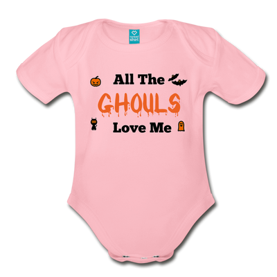 Organic Short Sleeve Bloody Halloween Onesie®, All the Ghouls love me, Baby Onesie® Baby boy, Toddler shirt, Funny Onesie®, Newborn Onesie®, 1st Halloween, Hallows Eve - light pink