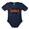 Organic Short Sleeve Bloody Halloween Onesie®, All the Ghouls love me, Baby Onesie® Baby boy, Toddler shirt, Funny Onesie®, Newborn Onesie®, 1st Halloween, Hallows Eve - dark navy