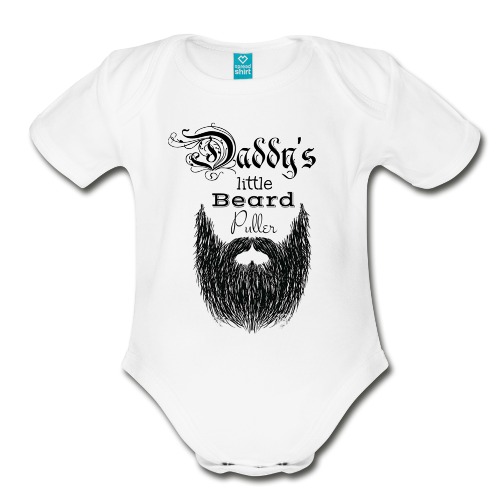 Daddy's Little Beard Puller Organic Short Sleeve Baby Bodysuit