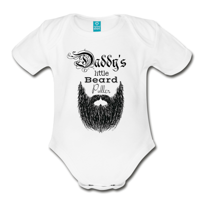 Daddy's Little Beard Puller Organic Short Sleeve Baby Bodysuit - white
