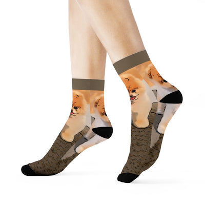 Cute and Cuddly Pomeranian Crew Socks
