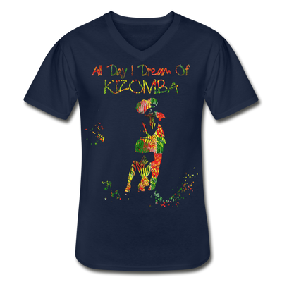 All Day I Dream Of Kizomba Africa Colors Men's V-Neck T-Shirt - navy