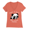 Panda Lover Bella Women V-Neck White Text
