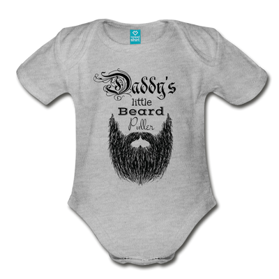 Daddy's Little Beard Puller Organic Short Sleeve Baby Bodysuit - heather gray