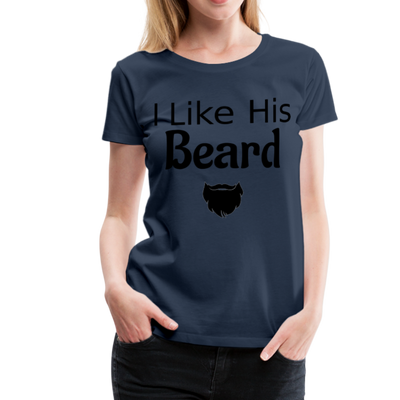 Women's Premium Couples I Like His Beard Shirt with Image - navy