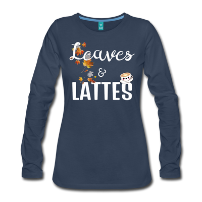 Leaves & Lattes w/ Images Women's Premium Long Sleeve T-Shirt - navy