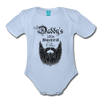 Daddy's Little Beard Puller Organic Short Sleeve Baby Bodysuit - sky