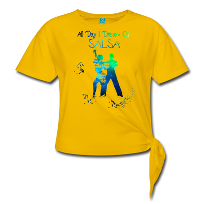 All Day I Dream Of Salsa Women's Knotted T-Shirt - sun yellow