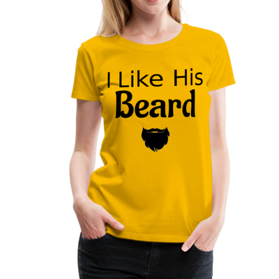Women's Premium Couples I Like His Beard Shirt with Image - sun yellow