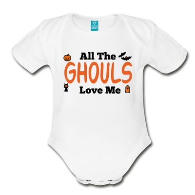 Organic Short Sleeve Action Man Halloween Onesie®, All the Ghouls love me, Baby Onesie® Baby boy, Toddler shirt, Funny Onesie®, Newborn Onesie®, 1st Halloween, Hallows Eve - white