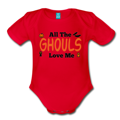 Organic Short Sleeve Action Man Halloween Onesie®, All the Ghouls love me, Baby Onesie® Baby boy, Toddler shirt, Funny Onesie®, Newborn Onesie®, 1st Halloween, Hallows Eve - red