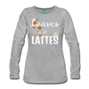 Leaves & Lattes w/ Images Women's Premium Long Sleeve T-Shirt - heather gray