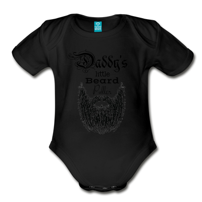 Daddy's Little Beard Puller Organic Short Sleeve Baby Bodysuit - black