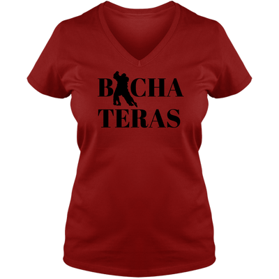 Bachateras Letter A Ladies V Neck Tee