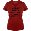 Nerdy Dirty Tattooed And Curvy Ladies V Neck Tee With Strong Curvy