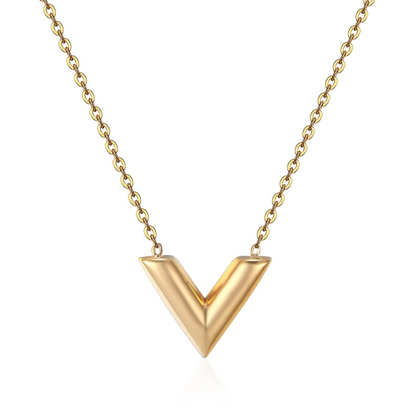 Brand V Letter Pendant Necklace