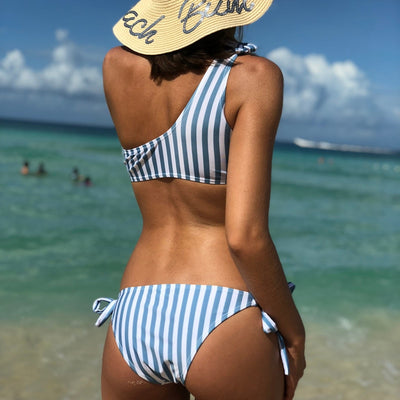 One Shoulder Ruffle Bikini