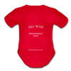 Spanish,Hola Papi, Organic Short Sleeve Baby Bodysuit - red
