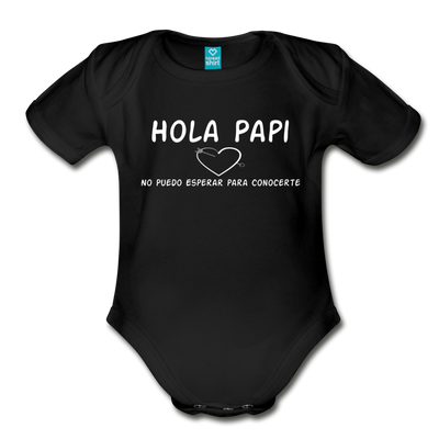 Spanish,Hola Papi, Organic Short Sleeve Baby Bodysuit - black