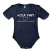 Spanish,Hola Papi, Organic Short Sleeve Baby Bodysuit - dark navy