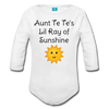 Lil Ray of Sunshine Organic Long Sleeve Baby Bodysuit - white