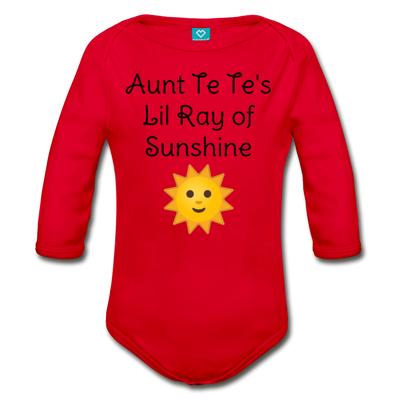 Lil Ray of Sunshine Organic Long Sleeve Baby Bodysuit - red