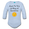 Lil Ray of Sunshine Organic Long Sleeve Baby Bodysuit - sky