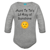 Lil Ray of Sunshine Organic Long Sleeve Baby Bodysuit - heather gray