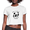 Just a Girl Who Loves Pandas Women's Cropped T-Shirt - white