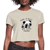 Just a Girl Who Loves Pandas Women's Cropped T-Shirt - dust