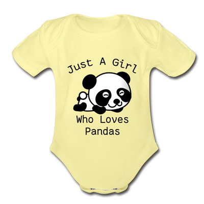 Just a Girl Who Loves Pandas Organic Short Sleeve Baby Bodysuit - washed yellow