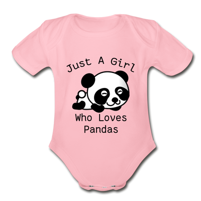 Just a Girl Who Loves Pandas Organic Short Sleeve Baby Bodysuit - light pink