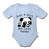 Just a Girl Who Loves Pandas Organic Short Sleeve Baby Bodysuit - sky