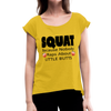 Squat Women's Roll Cuff T-Shirt - mustard yellow