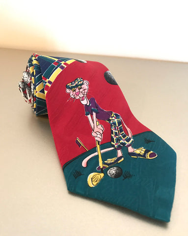 90s Pink Panther Golf Tie