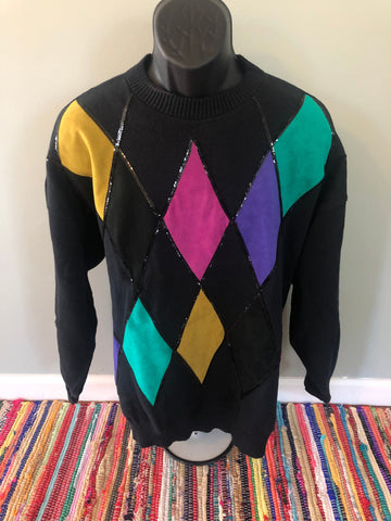 80s Suede Argyle Sequin Disco Sweater