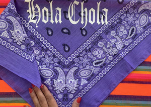 Hola Chola Custom Bandana (PURPLE/GOLD)