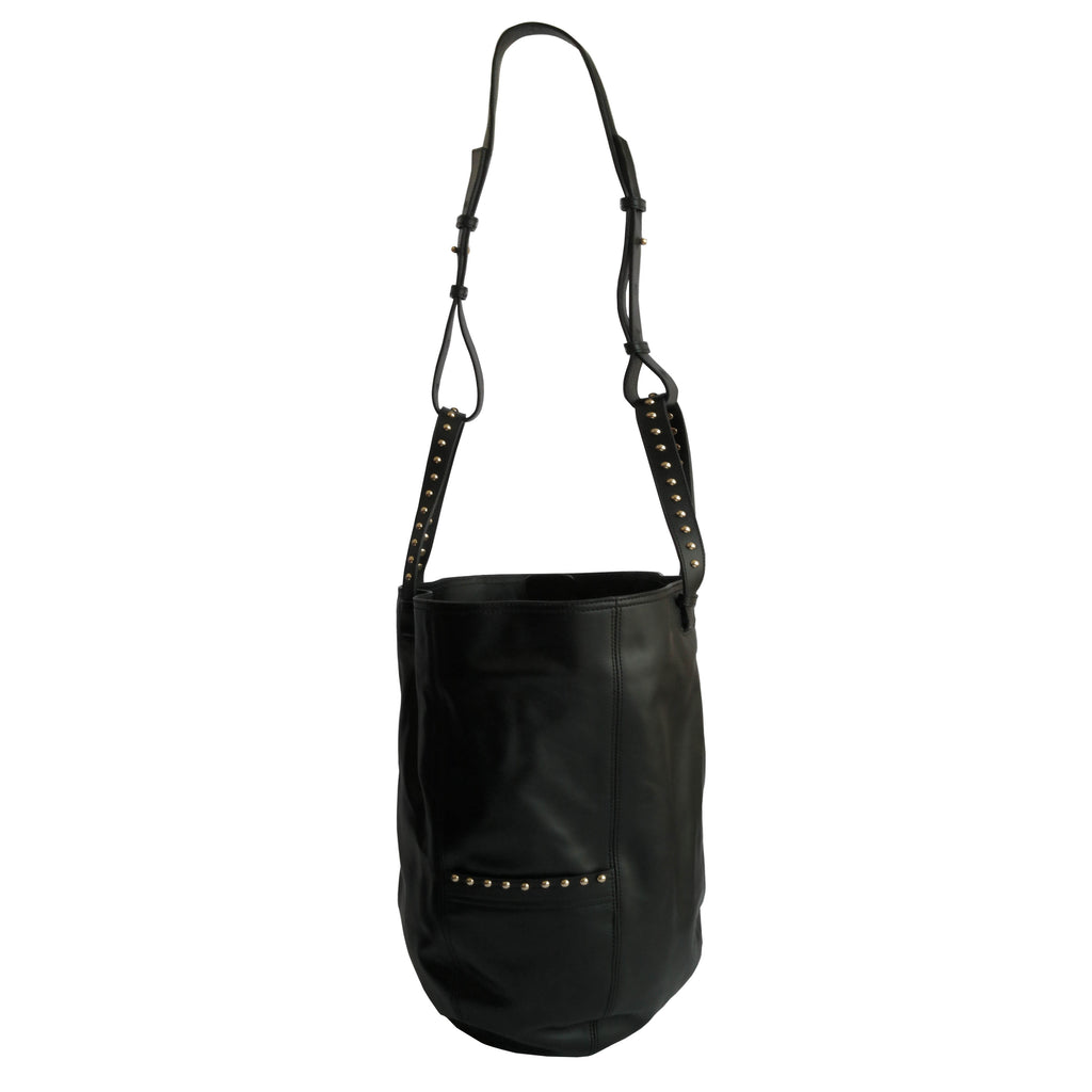 Black big todo bag in calf leather